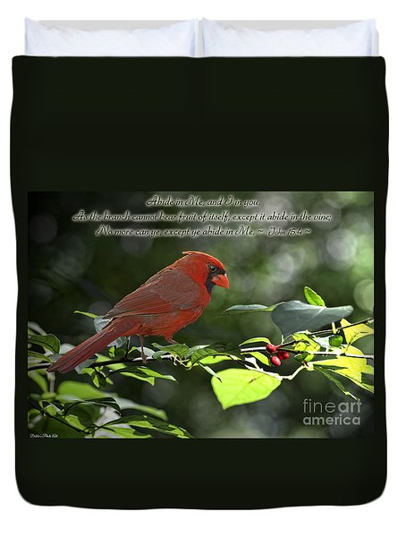 Male Cardinal On Dogwood Branch With Verse Duvet Cover