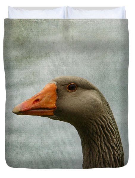 Male Graylag Goose Profile Duvet Cover
