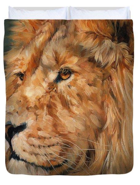 Male Lion Duvet Cover by David Stribbling