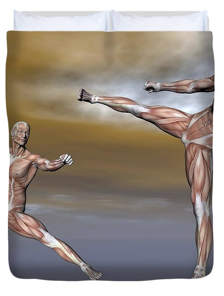 Male Musculature In Fighting Stance Duvet Cover