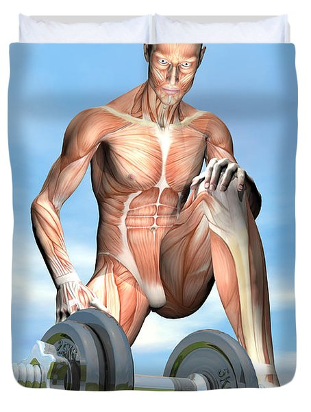 Male Musculature Looking At A Dumbbell Duvet Cover by Elena Duvernay