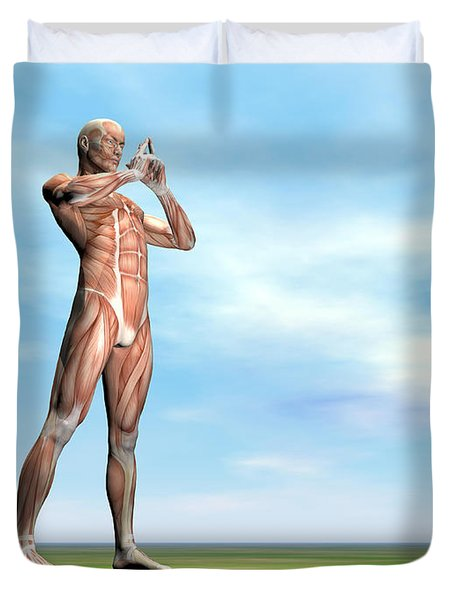 Male Musculature Standing On The Green Duvet Cover by Elena Duvernay