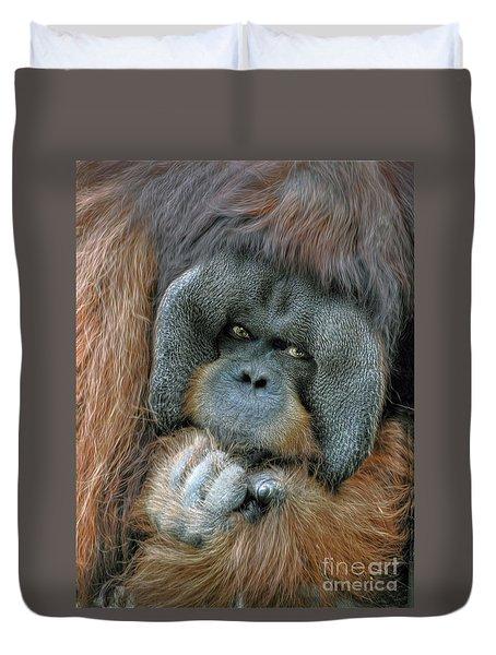 Duvet Cover featuring the photograph Male Orangutan  by Savannah Gibbs