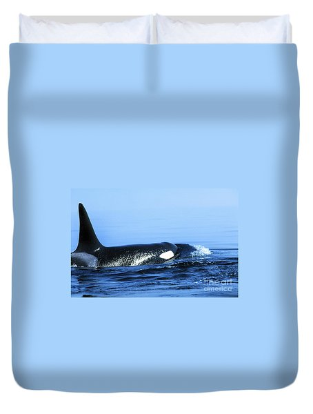 Duvet Cover featuring the photograph Male Orca Off The San Juan Islands Washington 1986 by California Views Mr Pat Hathaway Archives