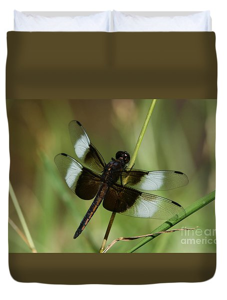 Male Widow Skimmer Dragonfly Duvet Cover