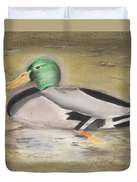 Duvet Cover featuring the pastel Mallard by David Jackson