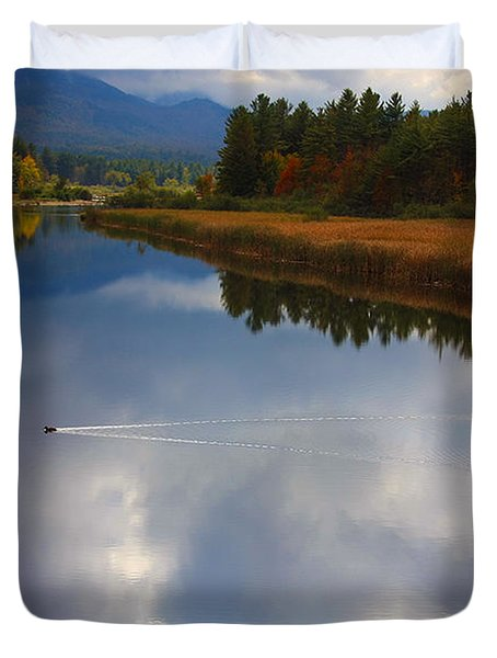 Duvet Cover featuring the photograph Mallard Duck On Lake In Adirondack Mountains In Autumn by Jerry Cowart