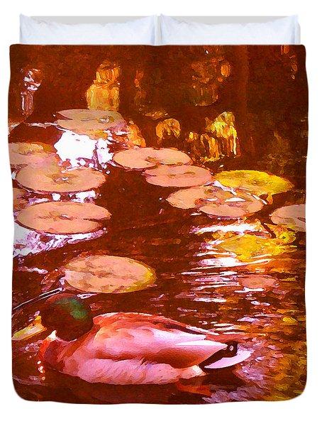 Mallard Duck On Pond 3 Square Duvet Cover by Amy Vangsgard