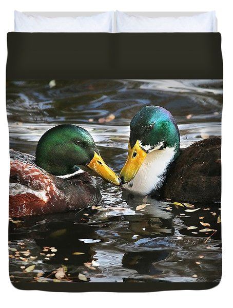 Mallard Duck Pair Share A Quiet Moment Duvet Cover