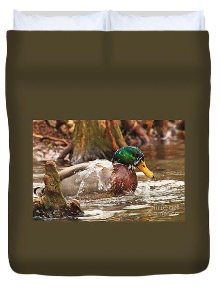 Mallard Duck Taking Bath Duvet Cover