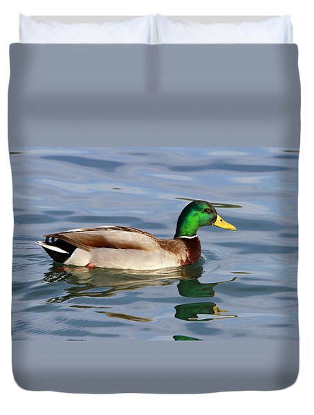 Mallard On The Lake Duvet Cover by Shoal Hollingsworth