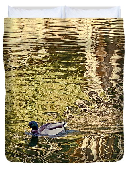 Duvet Cover featuring the photograph Mallard Painting by Kate Brown