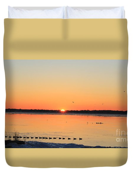 Duvet Cover featuring the photograph Mallards At Sunrise by David Jackson
