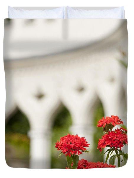 Maltese Cross Flowers Duvet Cover by Anne Gilbert