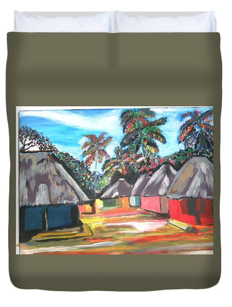 Duvet Cover featuring the painting Mamboima The Tamarinds Village by Mudiama Kammoh