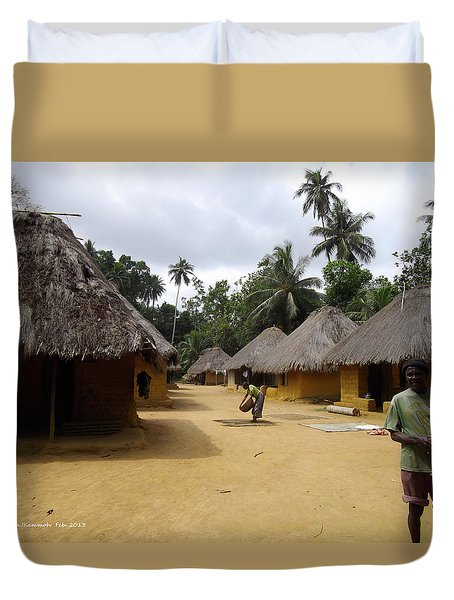 Duvet Cover featuring the photograph Mamboima Village by Mudiama Kammoh