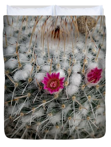Duvet Cover featuring the photograph Mammillaria Geminispina by Scott Lyons