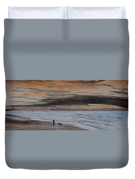 Man And Dog On The Beach Duvet Cover