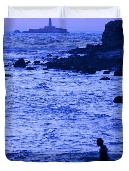 Man And Lighthouse Duvet Cover