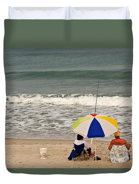 Man And Woman Fishing Duvet Cover by Sue Smith