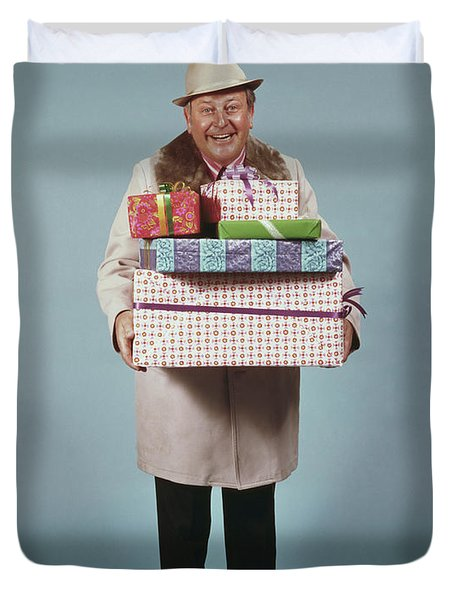 Man Carrying Gifts Hat Party 1970s Duvet Cover