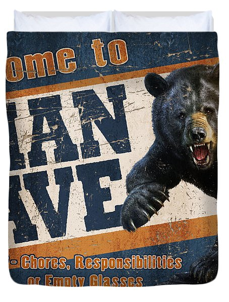 Man Cave Balck Bear Duvet Cover