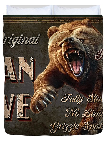 Man Cave Grizzly Duvet Cover