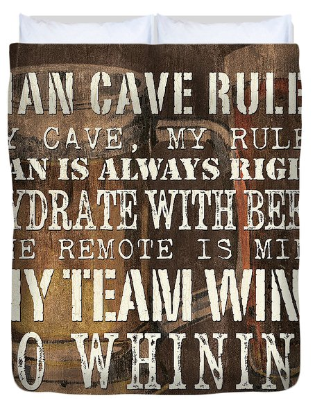 Man Cave Rules Square Duvet Cover by Debbie DeWitt