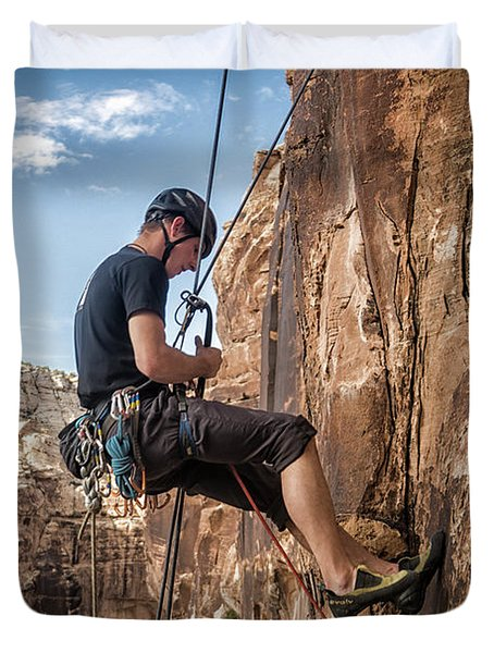 Man Climbing Route In Sandstone Duvet Cover