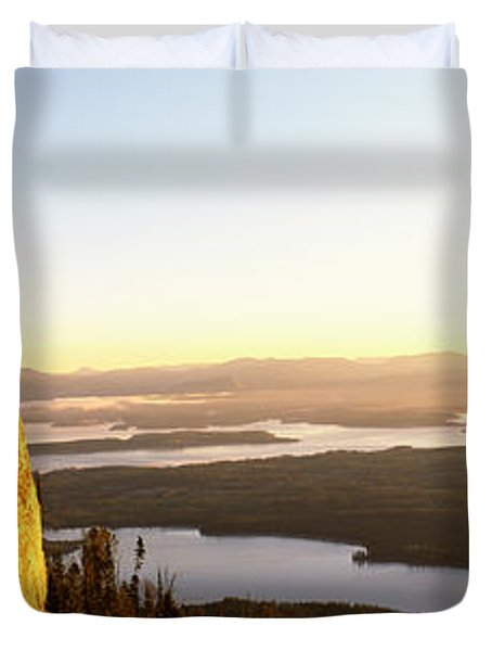 Man Climbing Up A Mountain, Rockchuck Duvet Cover