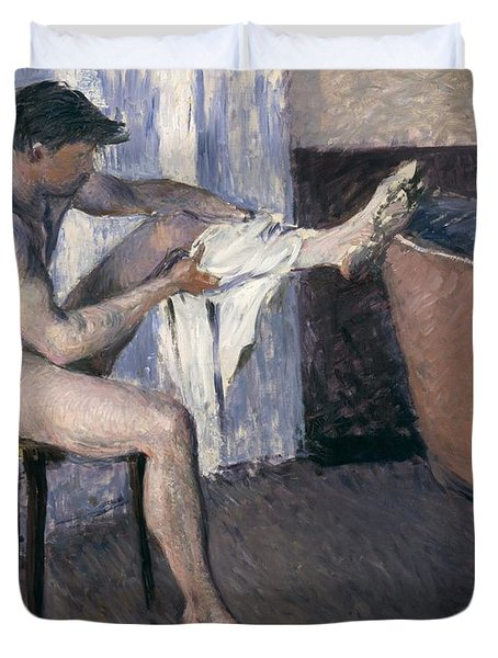 Man Drying His Leg  Duvet Cover