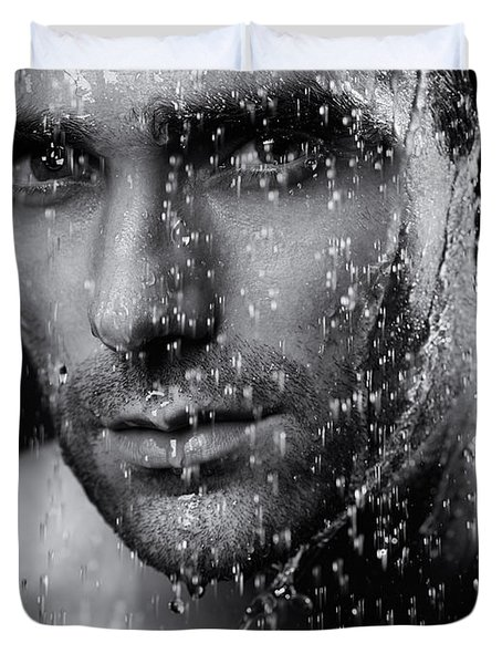 Man Face Wet From Water Running Down It Black And White Duvet Cover by Oleksiy Maksymenko