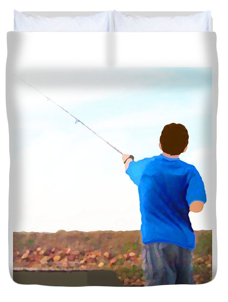 Man Fishing Duvet Cover by Marian Cates