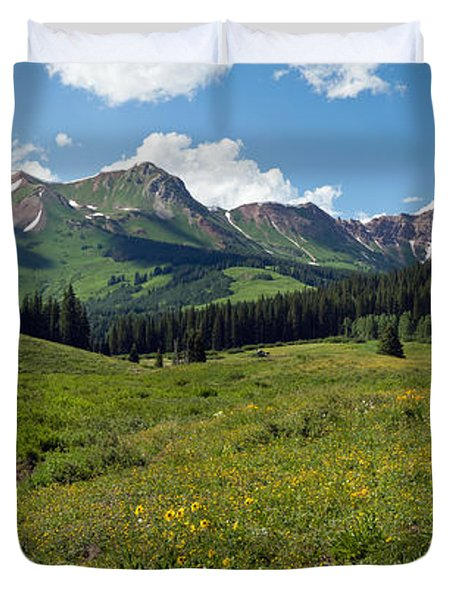 Man Fly-fishing In Slate River, Crested Duvet Cover