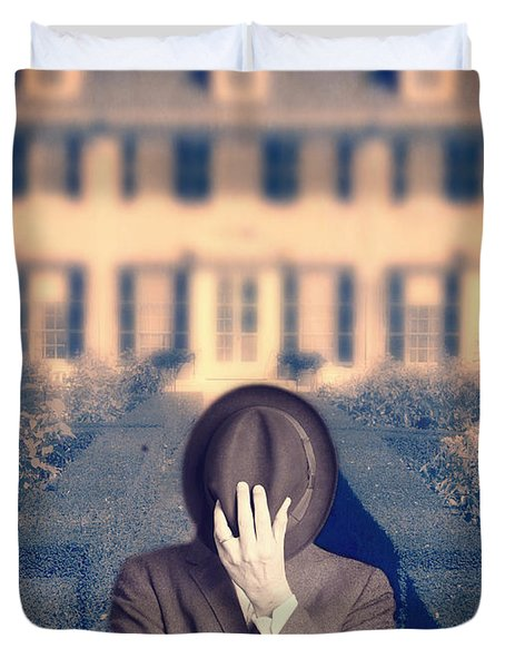Man In Front Of Mansion  Duvet Cover by Edward Fielding