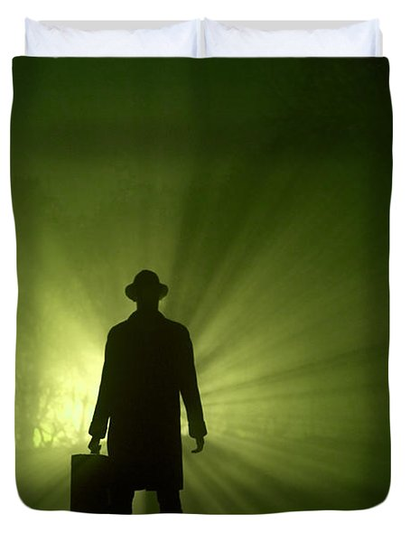 Duvet Cover featuring the photograph Man In Light Beams by Lee Avison