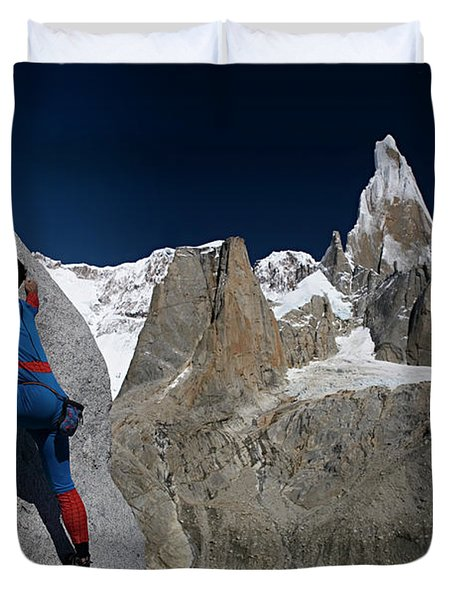 Man In Spiderman Suit Climbs In Front Duvet Cover