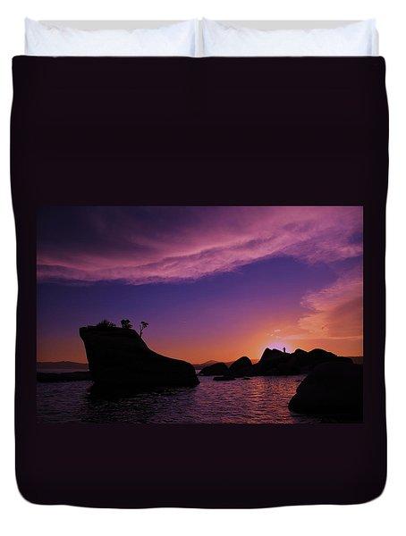 Duvet Cover featuring the photograph Man In Sun At Bonsai Rock by Sean Sarsfield