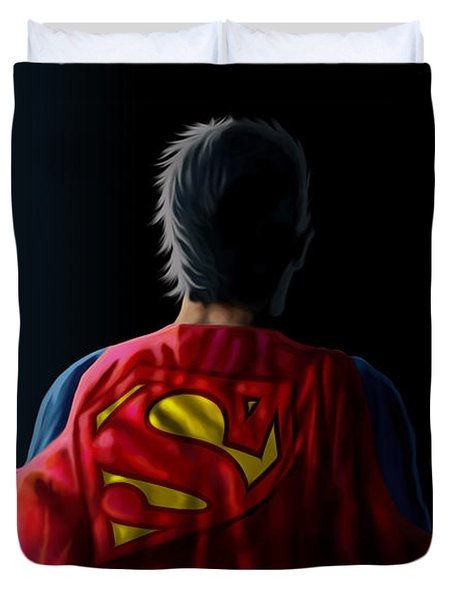 Duvet Cover featuring the digital art Man Of Steel - Superman by Anthony Mwangi