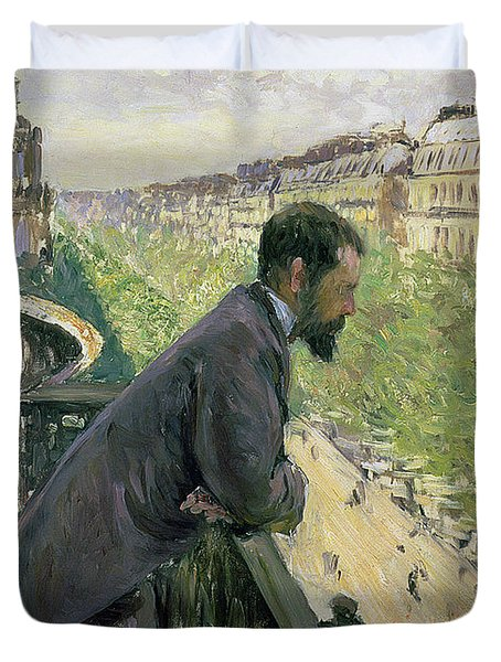 Man On A Balcony Duvet Cover by Gustave Caillebotte