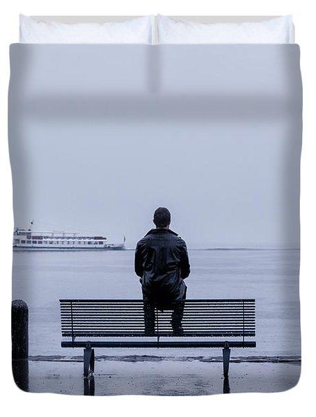 Man On Bench Duvet Cover by Joana Kruse