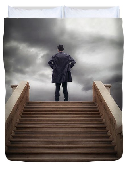 Man On Stairs Duvet Cover by Joana Kruse