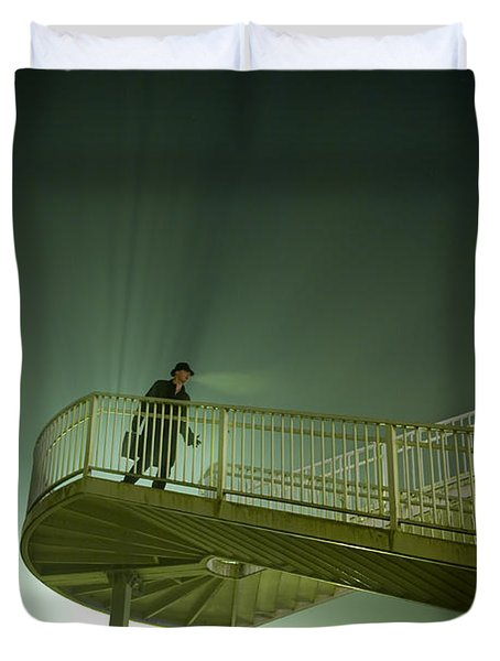 Duvet Cover featuring the photograph Man On Stairs With Case In Fog by Lee Avison