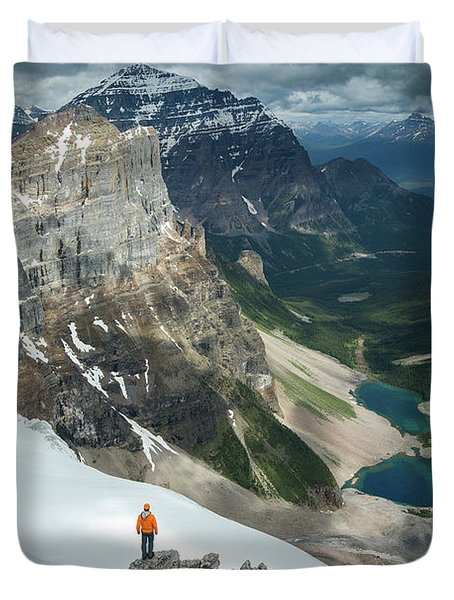 Man Overlooking Consolation Lakes Duvet Cover
