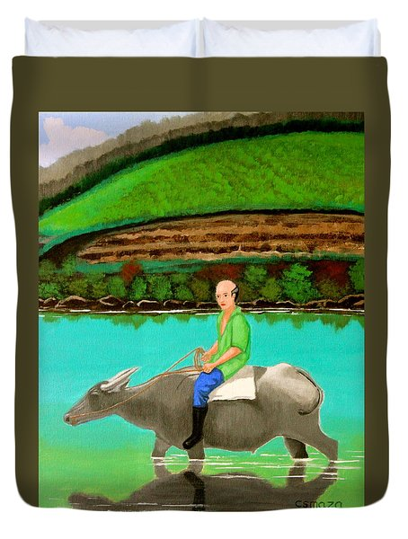 Man Riding A Carabao Duvet Cover