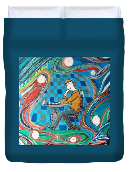 Man Sitting In Chair Contemplating Chess With A Bird Duvet Cover