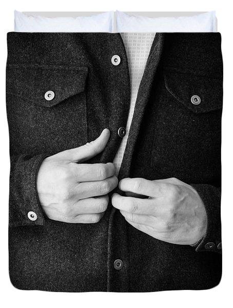 Man Unbuttoning His Shirt Duvet Cover by Edward Fielding