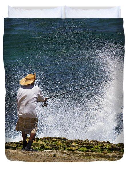 Man Versus The Sea Duvet Cover by Mike  Dawson