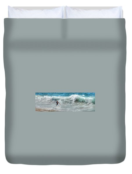 Man Vs Wave Duvet Cover
