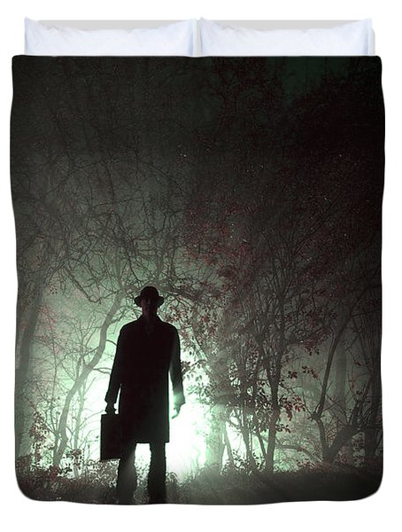 Duvet Cover featuring the photograph Man Waiting In Fog With Case by Lee Avison